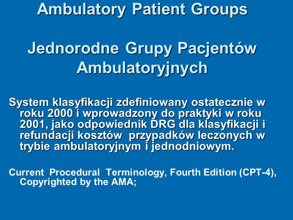 Ambulatory Patient Groups Jednorodne Grupy Pacjentów Ambulatoryjnych System klasyfikacji zdefiniowany ostatecznie w roku 2000 i wprowadzony do praktyk