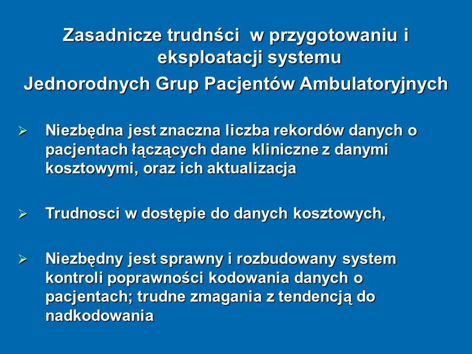 Zasadnicze trudnści w przygotowaniu i eksploatacji systemu Jednorodnych Grup Pacjentów Ambulatoryjnych Niezbędna jest znaczna liczba rekordów danych o