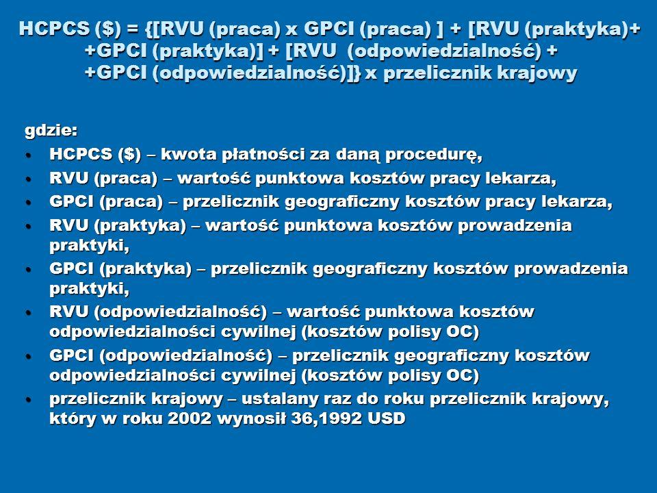 HCPCS ($) = {[RVU (praca) x GPCI (praca) ] + [RVU (praktyka)+ +GPCI (praktyka)] + [RVU (odpowiedzialność) + +GPCI (odpowiedzialność)]} x przelicznik k