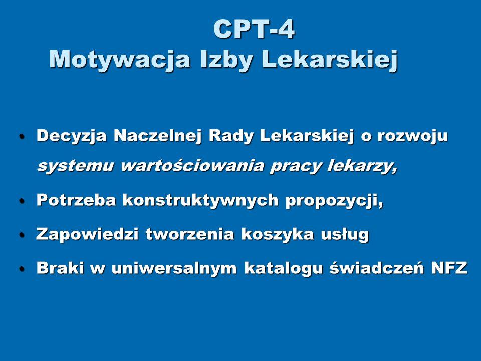 CPT-4 Motywacja Izby Lekarskiej Decyzja Naczelnej Rady Lekarskiej o rozwoju systemu wartościowania pracy lekarzy, Decyzja Naczelnej Rady Lekarskiej o