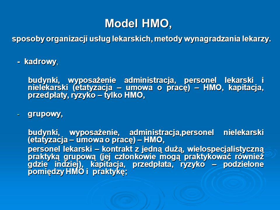 Model HMO, sposoby organizacji usług lekarskich, metody wynagradzania lekarzy. - kadrowy, budynki, wyposażenie administracja, personel lekarski i niel