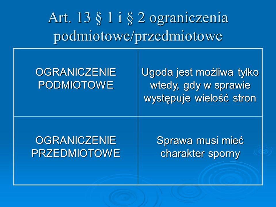 Art. 13 § 1 i § 2 ograniczenia podmiotowe/przedmiotowe OGRANICZENIE PODMIOTOWE Ugoda jest możliwa tylko wtedy, gdy w sprawie występuje wielość stron O