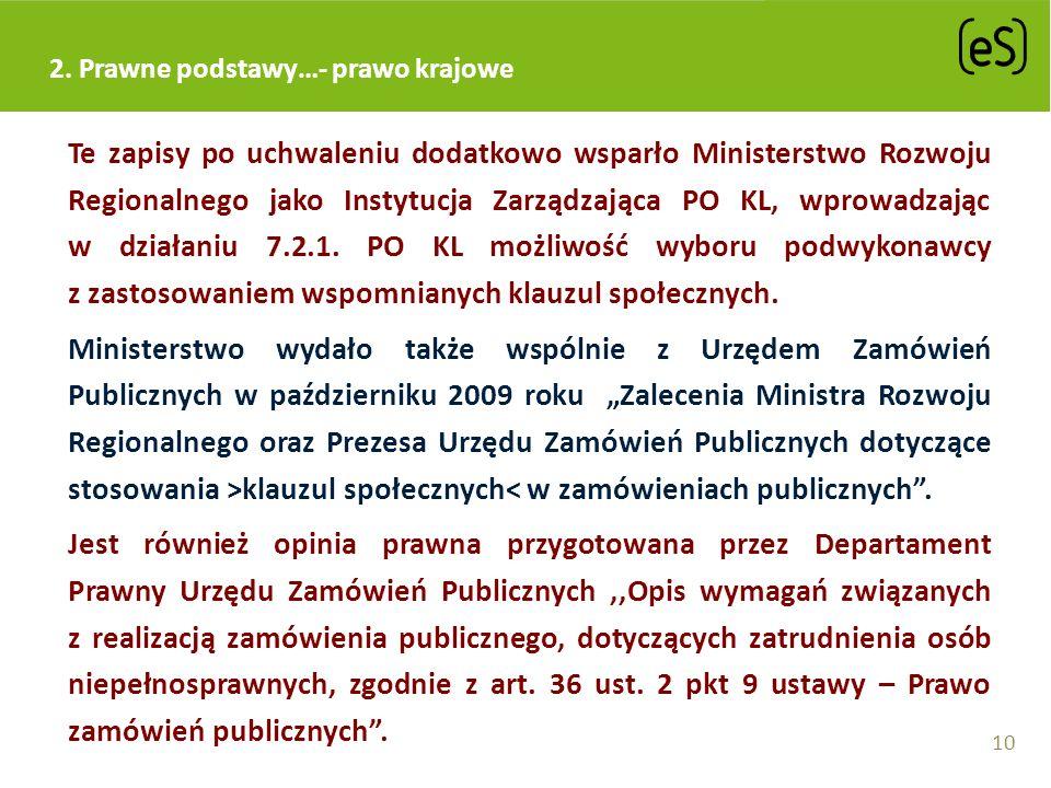 2. Prawne podstawy…- prawo krajowe Te zapisy po uchwaleniu dodatkowo wsparło Ministerstwo Rozwoju Regionalnego jako Instytucja Zarządzająca PO KL, wpr