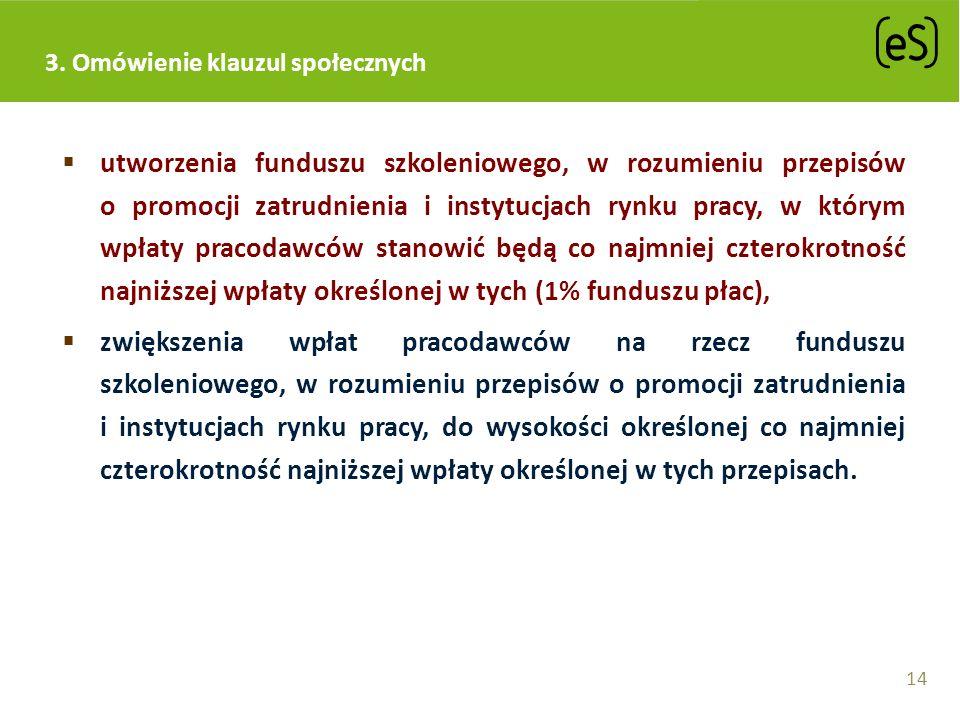 3. Omówienie klauzul społecznych utworzenia funduszu szkoleniowego, w rozumieniu przepisów o promocji zatrudnienia i instytucjach rynku pracy, w który