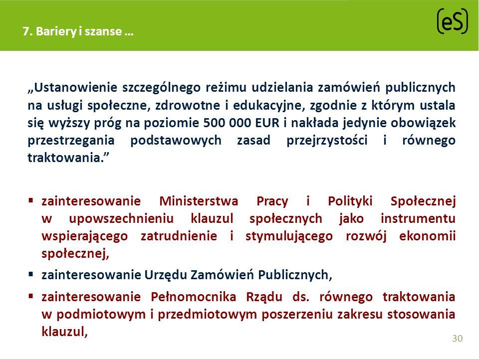 Ustanowienie szczególnego reżimu udzielania zamówień publicznych na usługi społeczne, zdrowotne i edukacyjne, zgodnie z którym ustala się wyższy próg