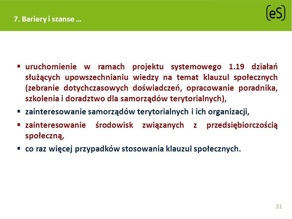 uruchomienie w ramach projektu systemowego 1.19 działań służących upowszechnianiu wiedzy na temat klauzul społecznych (zebranie dotychczasowych doświa
