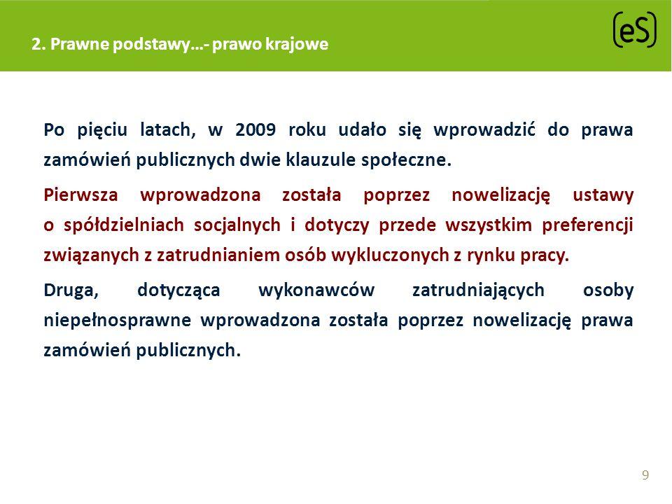 2. Prawne podstawy…- prawo krajowe Po pięciu latach, w 2009 roku udało się wprowadzić do prawa zamówień publicznych dwie klauzule społeczne. Pierwsza