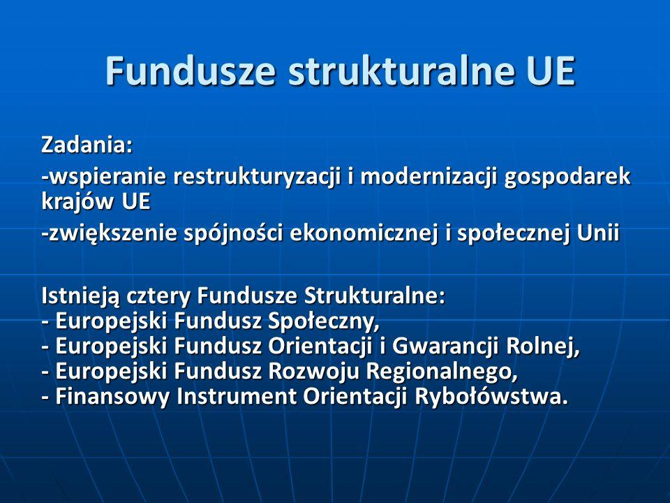 Fundusze strukturalne UE Zadania: -wspieranie restrukturyzacji i modernizacji gospodarek krajów UE -zwiększenie spójności ekonomicznej i społecznej Unii Istnieją cztery Fundusze Strukturalne: - Europejski Fundusz Społeczny, - Europejski Fundusz Orientacji i Gwarancji Rolnej, - Europejski Fundusz Rozwoju Regionalnego, - Finansowy Instrument Orientacji Rybołówstwa.