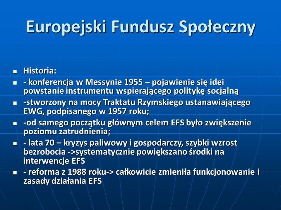 Europejski Fundusz Społeczny Historia: Historia: - konferencja w Messynie 1955 – pojawienie się idei powstanie instrumentu wspierającego politykę socj
