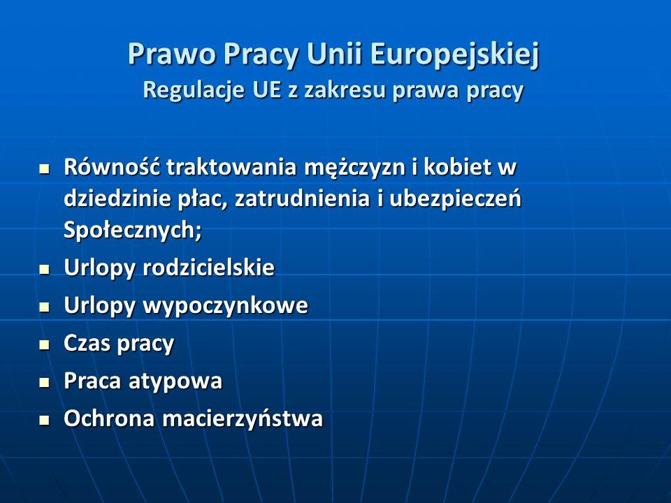 Prawo Pracy Unii Europejskiej Regulacje UE z zakresu prawa pracy Równość traktowania mężczyzn i kobiet w dziedzinie płac, zatrudnienia i ubezpieczeń Społecznych; Równość traktowania mężczyzn i kobiet w dziedzinie płac, zatrudnienia i ubezpieczeń Społecznych; Urlopy rodzicielskie Urlopy rodzicielskie Urlopy wypoczynkowe Urlopy wypoczynkowe Czas pracy Czas pracy Praca atypowa Praca atypowa Ochrona macierzyństwa Ochrona macierzyństwa