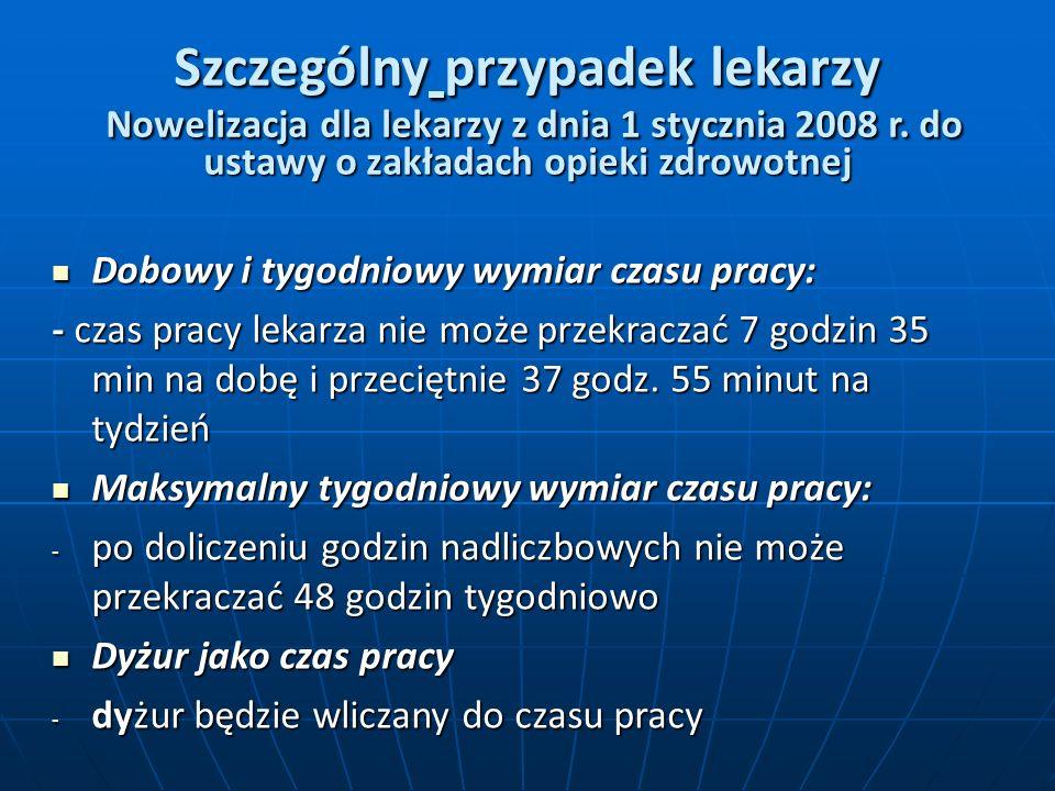 Szczególny przypadek lekarzy Nowelizacja dla lekarzy z dnia 1 stycznia 2008 r.