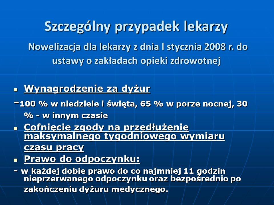 Szczególny przypadek lekarzy Nowelizacja dla lekarzy z dnia l stycznia 2008 r.