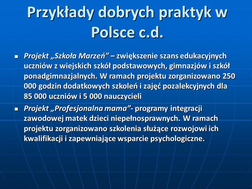 Przykłady dobrych praktyk w Polsce c.d. Projekt Szkoła Marzeń – zwiększenie szans edukacyjnych uczniów z wiejskich szkół podstawowych, gimnazjów i szk