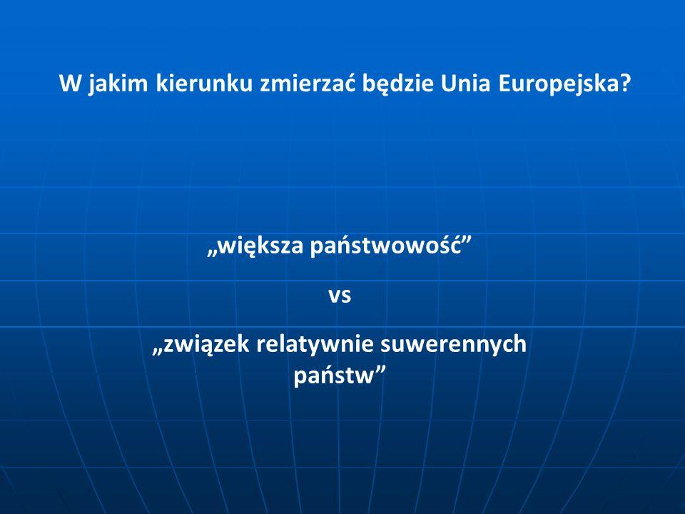 W jakim kierunku zmierzać będzie Unia Europejska? większa państwowość vs związek relatywnie suwerennych państw