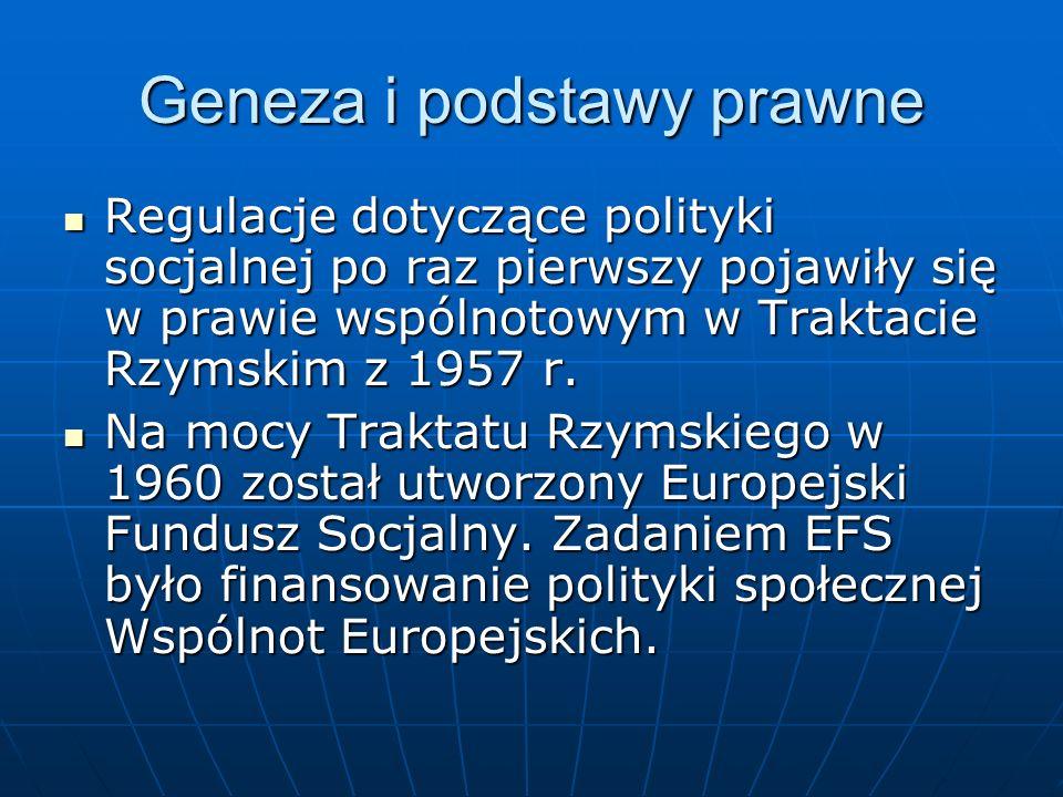Geneza i podstawy prawne Regulacje dotyczące polityki socjalnej po raz pierwszy pojawiły się w prawie wspólnotowym w Traktacie Rzymskim z 1957 r. Regu