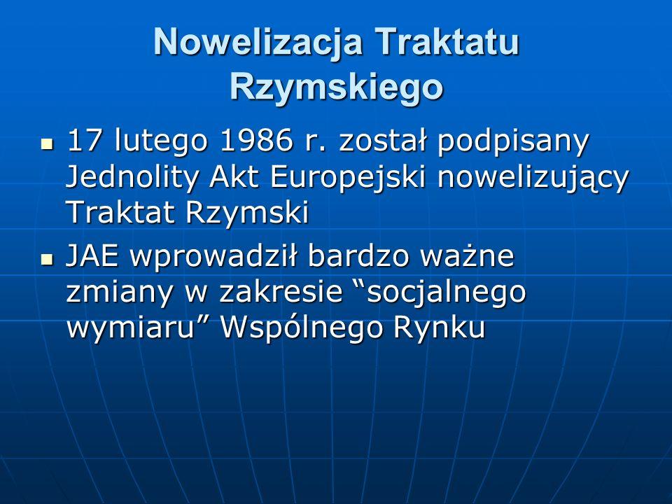 Nowelizacja Traktatu Rzymskiego 17 lutego 1986 r. został podpisany Jednolity Akt Europejski nowelizujący Traktat Rzymski 17 lutego 1986 r. został podp