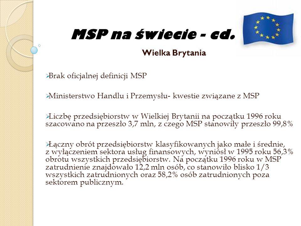 MSP na świecie - cd. Wielka Brytania Brak oficjalnej definicji MSP Ministerstwo Handlu i Przemysłu- kwestie związane z MSP Liczbę przedsiębiorstw w Wi