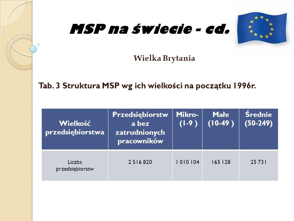 MSP na świecie - cd. Wielka Brytania Tab. 3 Struktura MSP wg ich wielkości na początku 1996r. Wielkość przedsiębiorstwa Przedsiębiorstw a bez zatrudni