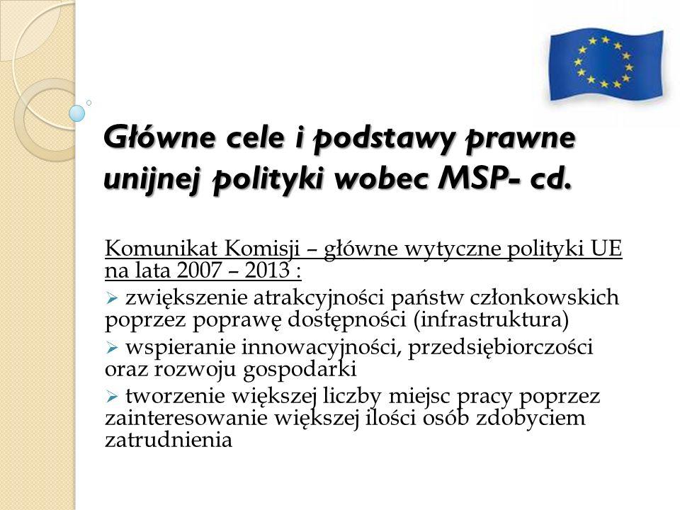 Główne cele i podstawy prawne unijnej polityki wobec MSP- cd. Komunikat Komisji – główne wytyczne polityki UE na lata 2007 – 2013 : zwiększenie atrakc