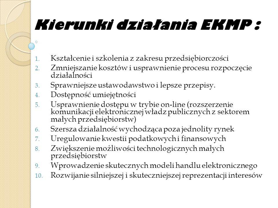 Kierunki działania EKMP : 1. Kształcenie i szkolenia z zakresu przedsiębiorczości 2. Zmniejszanie kosztów i usprawnienie procesu rozpoczęcie działalno