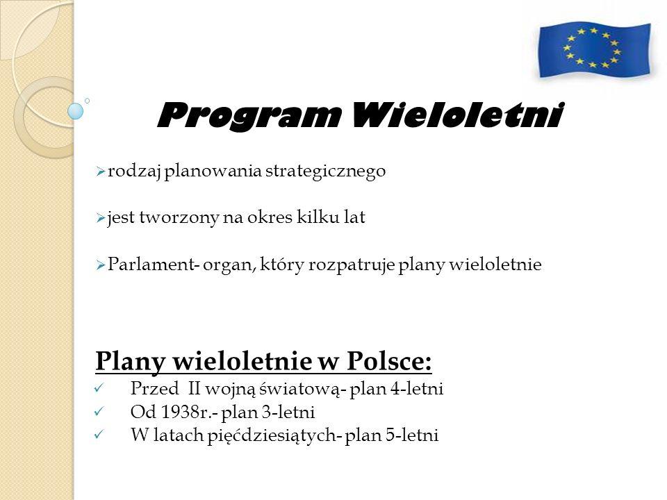 Program Wieloletni rodzaj planowania strategicznego jest tworzony na okres kilku lat Parlament- organ, który rozpatruje plany wieloletnie Plany wielol