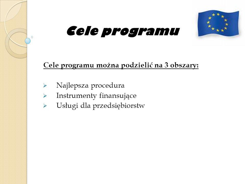 Cele programu Cele programu można podzielić na 3 obszary: Najlepsza procedura Instrumenty finansujące Usługi dla przedsiębiorstw