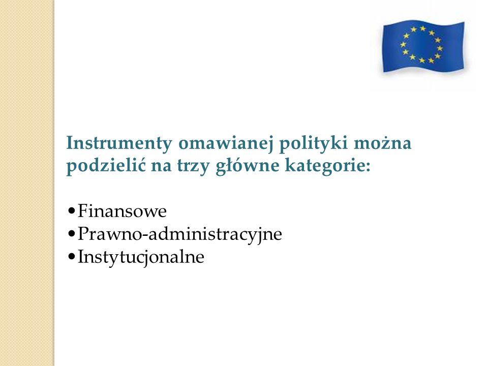 Instrumenty omawianej polityki można podzielić na trzy główne kategorie: Finansowe Prawno-administracyjne Instytucjonalne