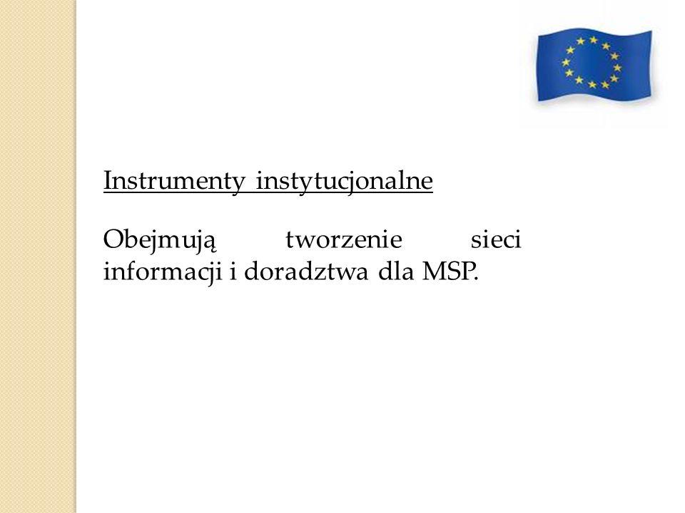 Instrumenty instytucjonalne Obejmują tworzenie sieci informacji i doradztwa dla MSP.