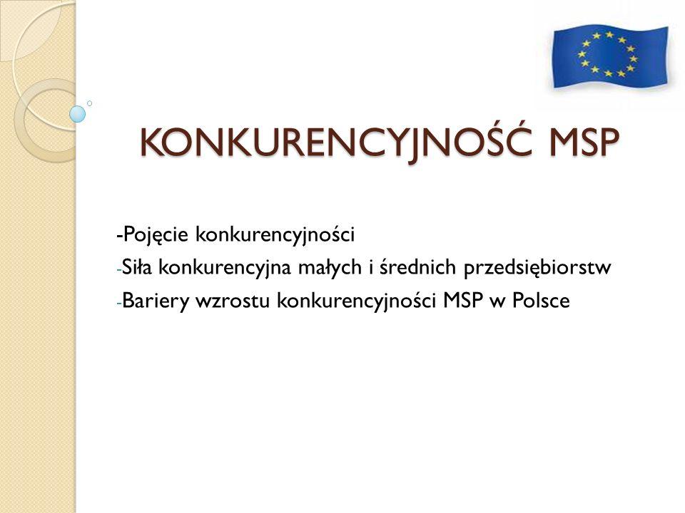 KONKURENCYJNOŚĆ MSP -Pojęcie konkurencyjności - Siła konkurencyjna małych i średnich przedsiębiorstw - Bariery wzrostu konkurencyjności MSP w Polsce