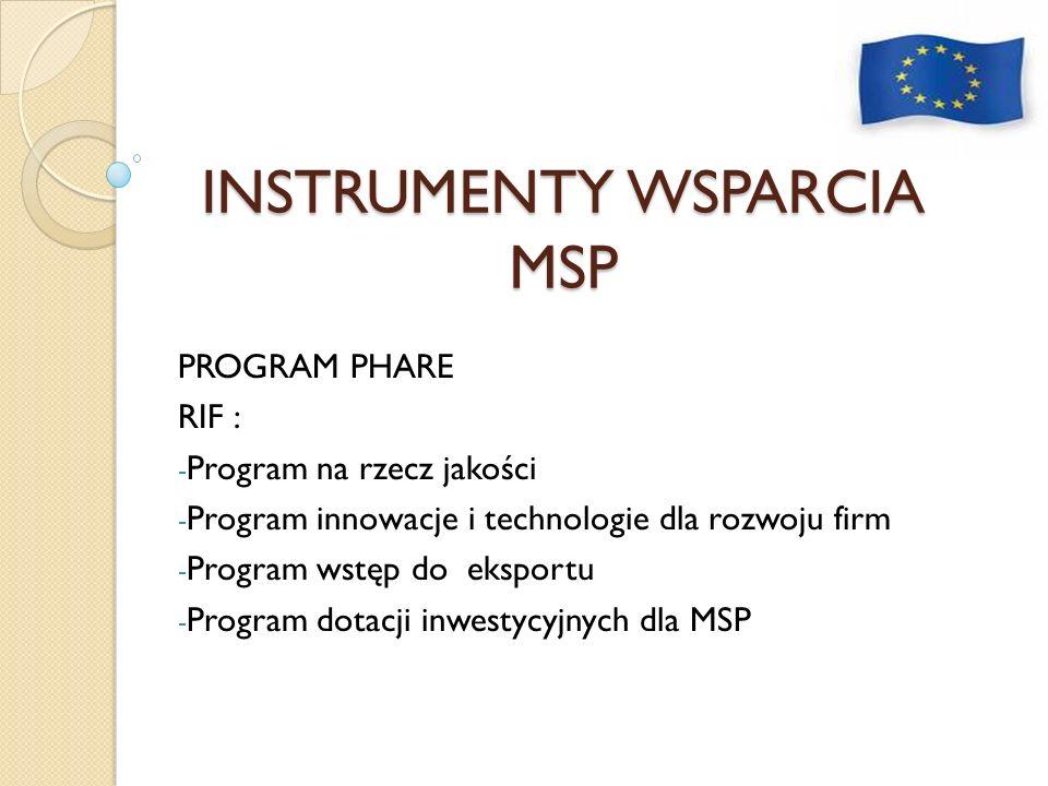 INSTRUMENTY WSPARCIA MSP PROGRAM PHARE RIF : - Program na rzecz jakości - Program innowacje i technologie dla rozwoju firm - Program wstęp do eksportu