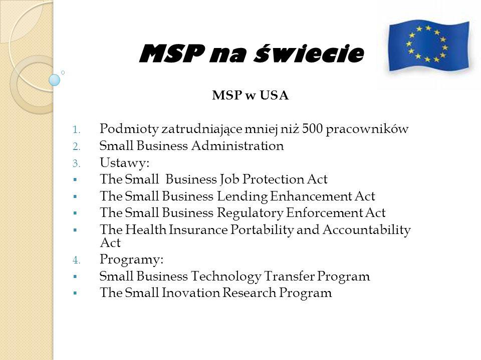 MSP na świecie MSP w USA 1. Podmioty zatrudniające mniej niż 500 pracowników 2. Small Business Administration 3. Ustawy: The Small Business Job Protec
