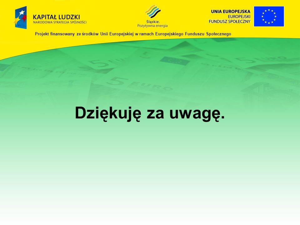 Dziękuję za uwagę. Projekt finansowany ze środków Unii Europejskiej w ramach Europejskiego Funduszu Społecznego