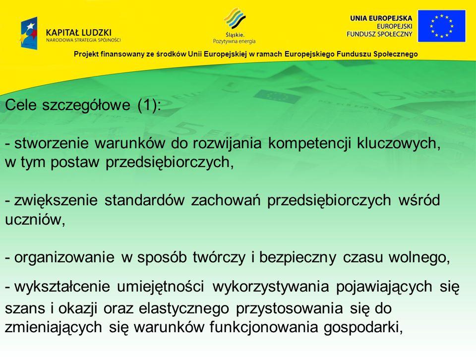 Projekt finansowany ze środków Unii Europejskiej w ramach Europejskiego Funduszu Społecznego Cele szczegółowe (1): - stworzenie warunków do rozwijania