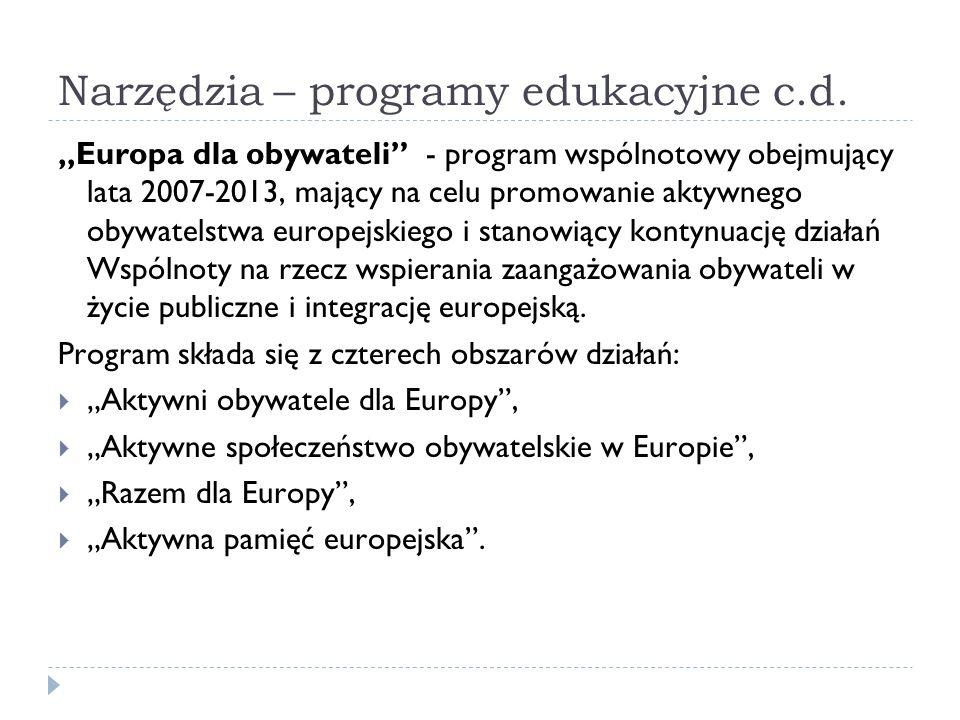 Narzędzia – programy edukacyjne c.d. Europa dla obywateli - program wspólnotowy obejmujący lata 2007-2013, mający na celu promowanie aktywnego obywate
