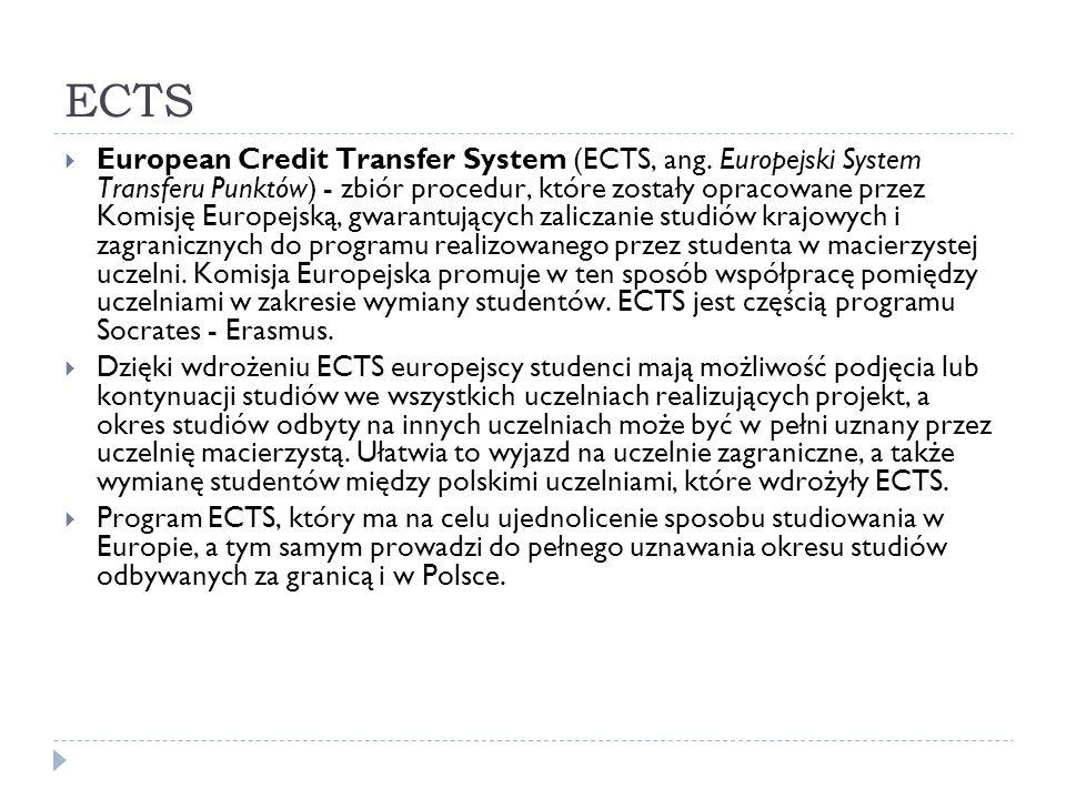 ECTS European Credit Transfer System (ECTS, ang. Europejski System Transferu Punktów) - zbiór procedur, które zostały opracowane przez Komisję Europej