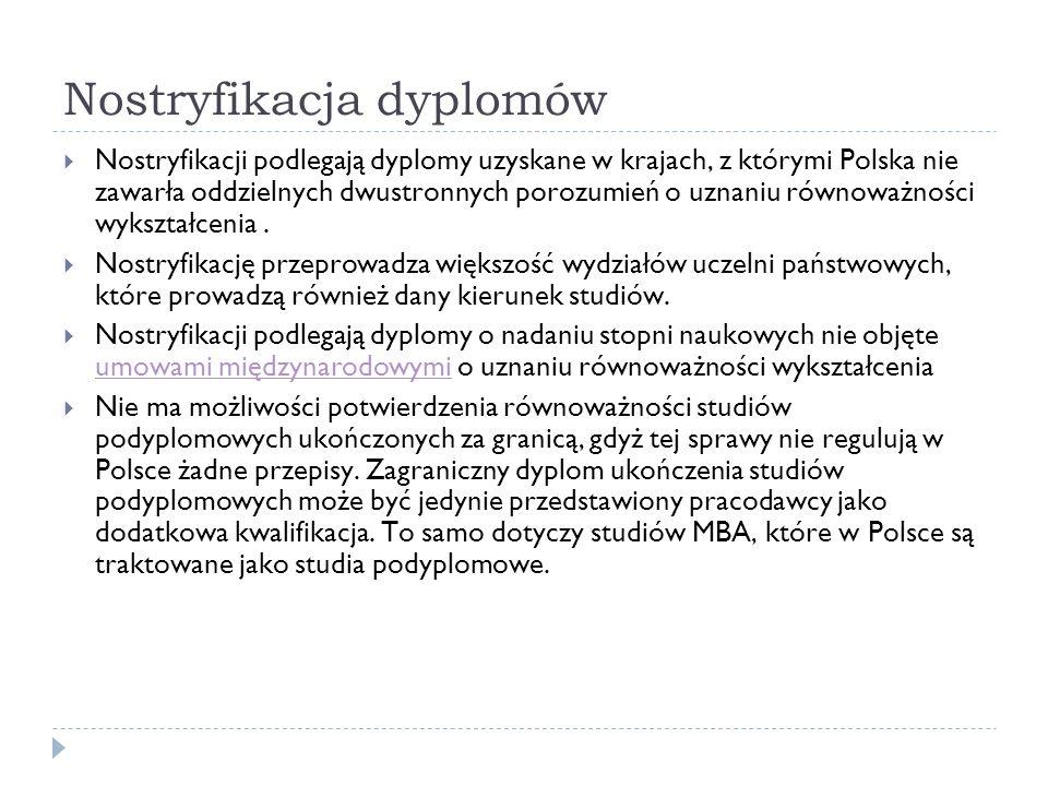 Nostryfikacja dyplomów Nostryfikacji podlegają dyplomy uzyskane w krajach, z którymi Polska nie zawarła oddzielnych dwustronnych porozumień o uznaniu