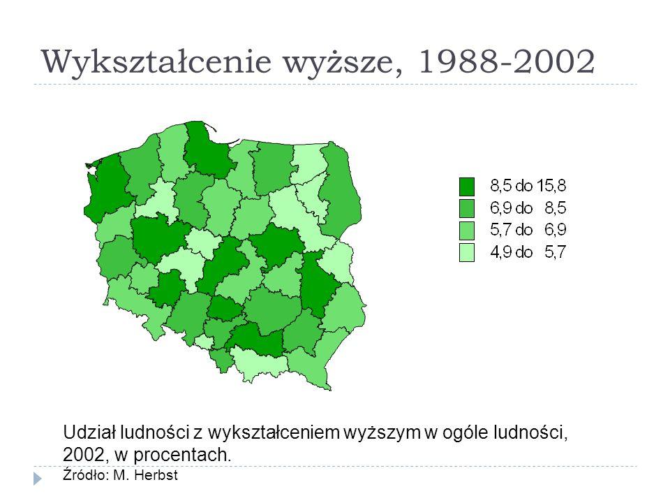 Wykształcenie wyższe, 1988-2002 Udział ludności z wykształceniem wyższym w ogóle ludności, 2002, w procentach. Źródło: M. Herbst