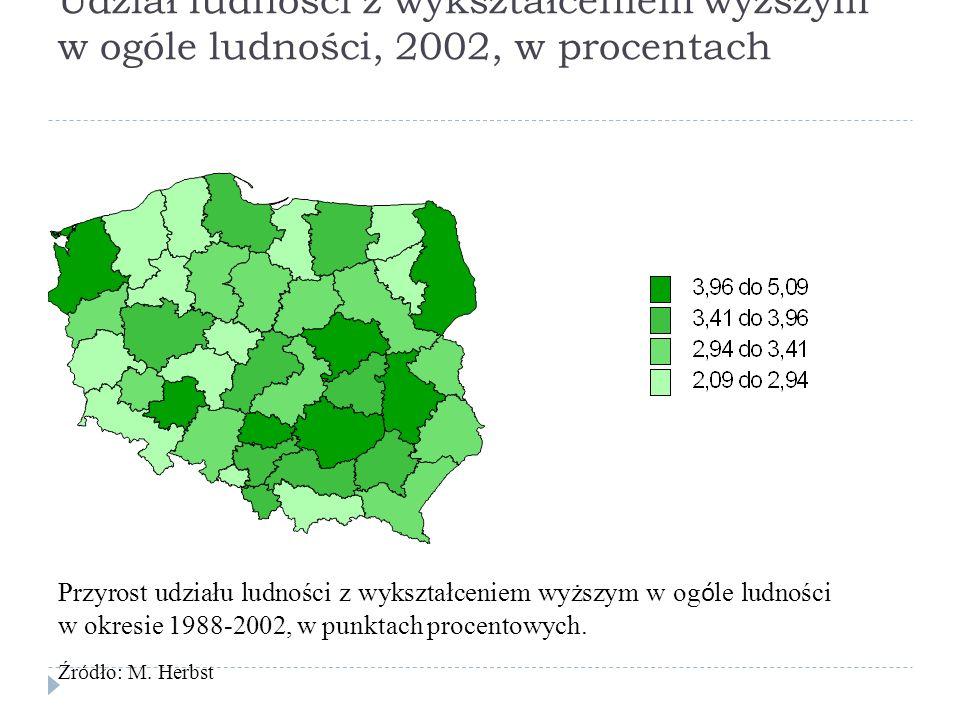 Udział ludności z wykształceniem wyższym w ogóle ludności, 2002, w procentach Przyrost udziału ludności z wykształceniem wyższym w og ó le ludności w