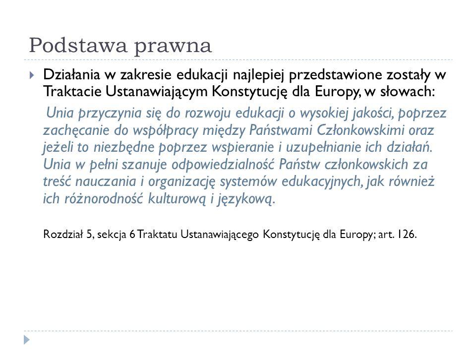 Podstawa prawna Działania w zakresie edukacji najlepiej przedstawione zostały w Traktacie Ustanawiającym Konstytucję dla Europy, w słowach: Unia przyc