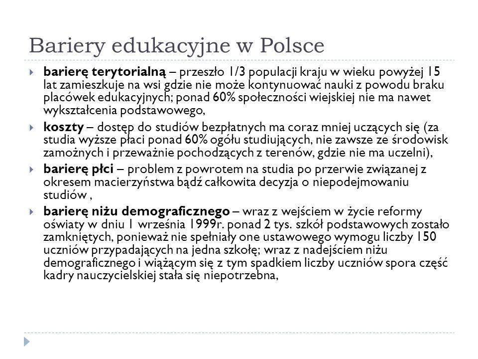 Bariery edukacyjne w Polsce barierę terytorialną – przeszło 1/3 populacji kraju w wieku powyżej 15 lat zamieszkuje na wsi gdzie nie może kontynuować n