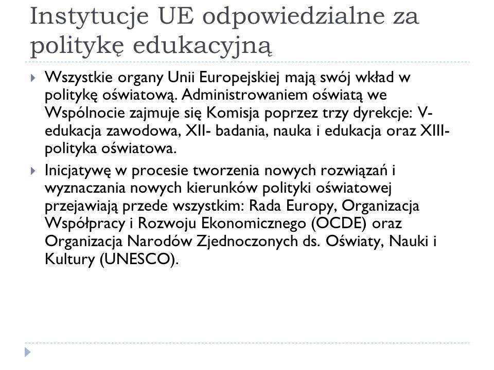 Instytucje UE odpowiedzialne za politykę edukacyjną Wszystkie organy Unii Europejskiej mają swój wkład w politykę oświatową. Administrowaniem oświatą