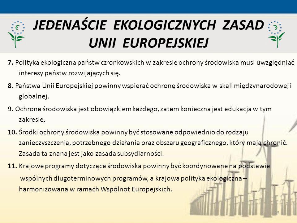 13 7. Polityka ekologiczna państw członkowskich w zakresie ochrony środowiska musi uwzględniać interesy państw rozwijających się. 8. Państwa Unii Euro