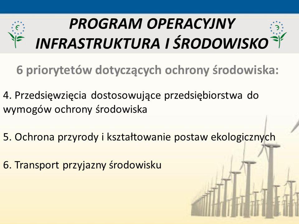26 PROGRAM OPERACYJNY INFRASTRUKTURA I ŚRODOWISKO 6 priorytetów dotyczących ochrony środowiska: 4. Przedsięwzięcia dostosowujące przedsiębiorstwa do w