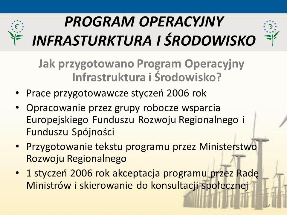 28 PROGRAM OPERACYJNY INFRASTURKTURA I ŚRODOWISKO Jak przygotowano Program Operacyjny Infrastruktura i Środowisko? Prace przygotowawcze styczeń 2006 r