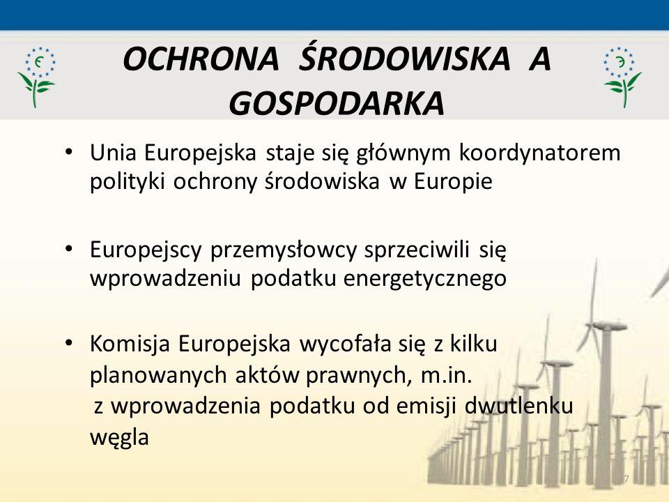 7 Unia Europejska staje się głównym koordynatorem polityki ochrony środowiska w Europie Europejscy przemysłowcy sprzeciwili się wprowadzeniu podatku e