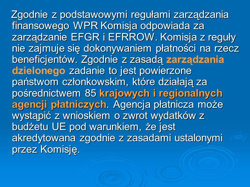 Zgodnie z podstawowymi regułami zarządzania finansowego WPR Komisja odpowiada za zarządzanie EFGR i EFRROW. Komisja z reguły nie zajmuje się dokonywan