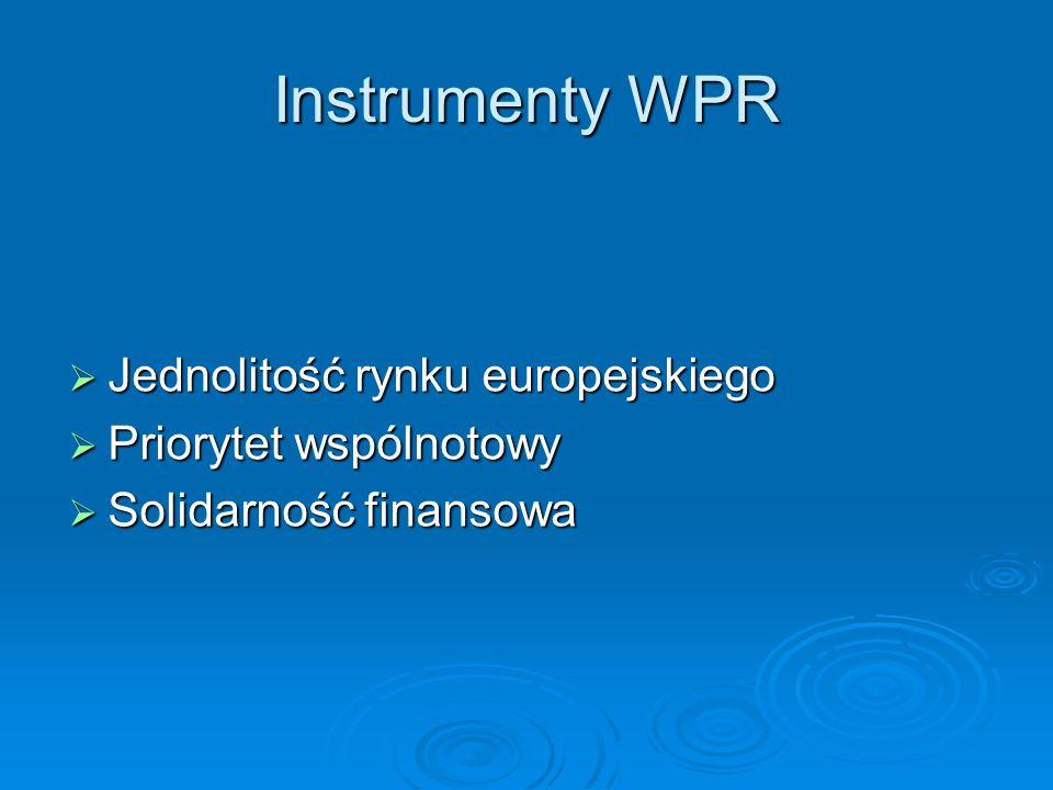 Instrumenty WPR Jednolitość rynku europejskiego Jednolitość rynku europejskiego Priorytet wspólnotowy Priorytet wspólnotowy Solidarność finansowa Soli