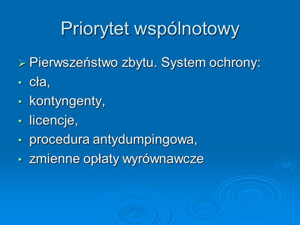 Pierwszeństwo zbytu. System ochrony: Pierwszeństwo zbytu. System ochrony: cła, cła, kontyngenty, kontyngenty, licencje, licencje, procedura antydumpin