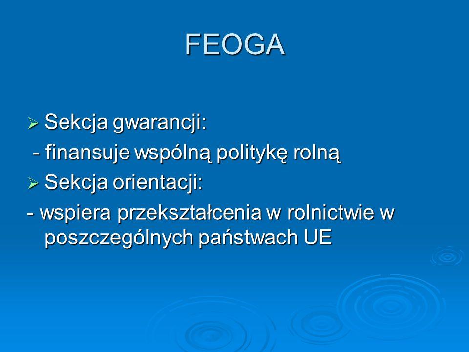 FEOGA Sekcja gwarancji: Sekcja gwarancji: - finansuje wspólną politykę rolną - finansuje wspólną politykę rolną Sekcja orientacji: Sekcja orientacji: