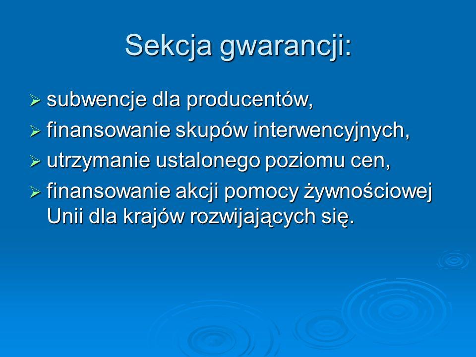 Sekcja gwarancji: subwencje dla producentów, subwencje dla producentów, finansowanie skupów interwencyjnych, finansowanie skupów interwencyjnych, utrz
